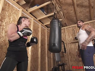 Busty natty MILF babe Tanya gets a hardcore fuck in the gym