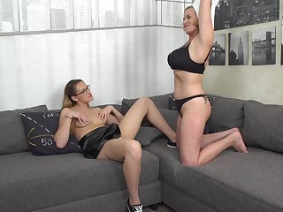 Marina Montana's piereced pussy gets eaten out by Desiree