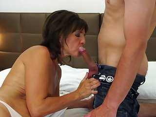 Mature mother gets young cock and cum to mouth