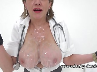 Nurse Lady Sonia is here to check on her client when she realizes he has an erection!
