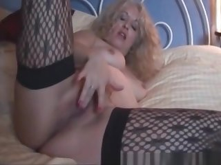 Check My MILF Trashy wife in stockings rubbing fat pussy