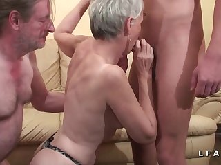 Old fart banged his skinny wife in front of camera