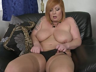 Chubby redhead MILF Alex stuffs her pussy with toys at home