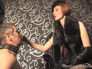 Glamour Mistress In Vintage Clothes Punishes Her Slave