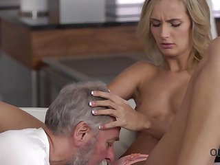 Old4K. Dad and his 18-year-old blond hair girl wife make amazing love