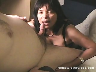 after she masturbates alone mature brunette gets her cunt pounded