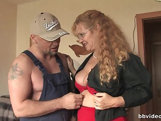 Curly haired mature sluts play with each other and a big dick