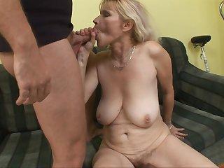 Sensual Arousing Blond Mom Babe Sucking Teenage - housewife