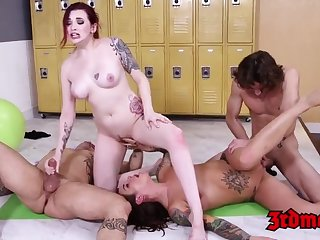 Yoga matures having a male milk tasting group fucking