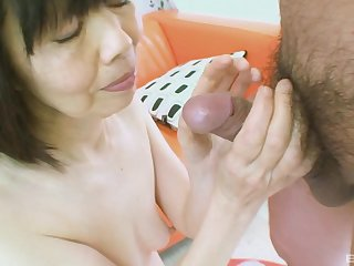 mature asian Matsuyo Morita is hornier than ever so she eats a cock