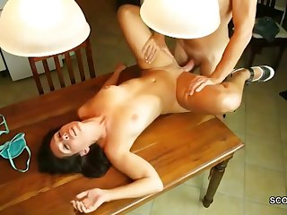 German Mommy Caught Young Babe Step-Son Wanking and get Had Sex
