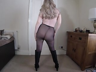 Wife Dancing nude in hose and boots