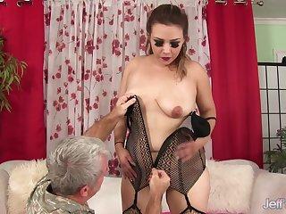 Chubby MILF Aubrey Blu Slides Her Pussy up and down Grandpas Hard Dick