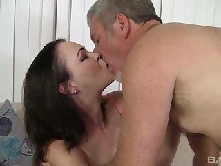Brunet milf Veronica Snow is brushing her hairy pussy and gets laid