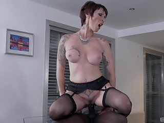 Man's whore sperm load ends in her ass after granny tries black