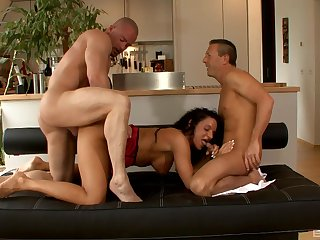 The curly haired wife is in for a threesome treat