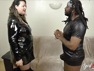 Busty mature got good taste of hard black cock with her red lips and got fucked hard