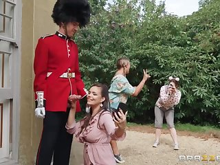 Royal guardsman fucked brunette MILF Sofia Lee in the palace