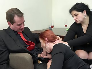 Redhead maid Anna Jelinkova fucked in front of the house wife