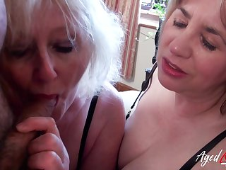Mature blonde whore Claire shares dick for a really sensual blowjob