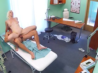 Insolent blonde tries hard sex with her physician