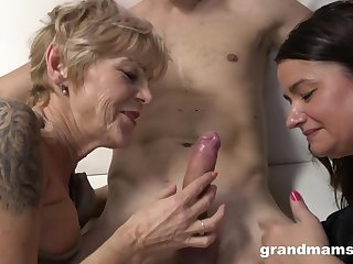 Grannies Wanna Have Fun - old and 18yo in threesome share cum