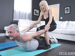 Personal trainer Erica Lauren fucked by her horny older client