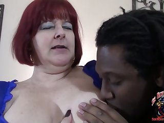 corpulent redhead BBW mom - interracial with fat ass mature