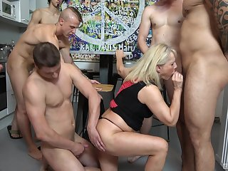 Gangbang perfection with a mature addicted to dicks