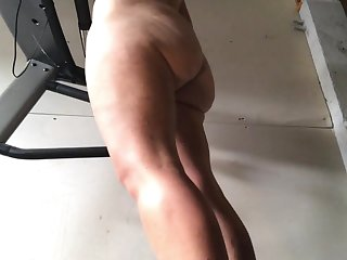Our girlfriend does every morning a naked workout on our home trainer