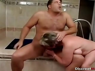 Older Lady Bathroom Drilling Session - mommy