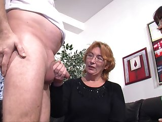 Dirty mature wife invited over her best friend for a FFM threesome
