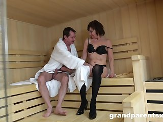 Sauna sex leads to crazy orgy between one dude and a lot of babes