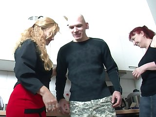 Kinky threesome fucking in the kitchen with two mature ladies