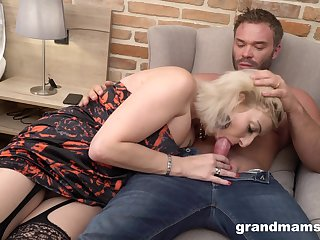 Wearing sexy lingerie blonde mature whore is ready to ride strong cock