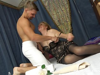 Slutty granny in stockings Marta has an affair with horny young student