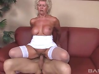 Old amateur Effie teases with her white lingerie and gets fucked