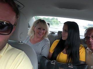 Outdoors foursome fucking with Martina Vachalcova and Denisa Sarkozyova