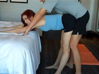 Stepson watch how stepmom doing yoga and fuck her