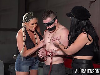 Man plays obedient for these two bitches in a flaming femdom XXX