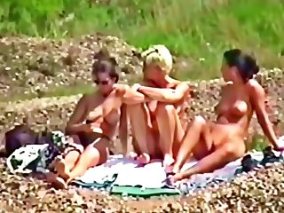 3 German Babes nude by the Lace public outdoor