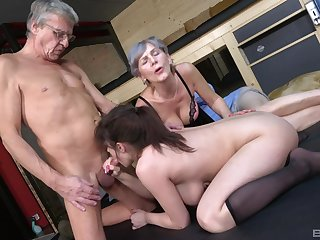 Old man goes nasty on his busty niece's cunt along with his old wife