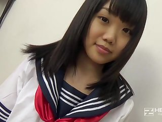 Asian honey, Natsuno Himawari is wearing the brush code of practice uniform while acquiring smashed and fellating prick