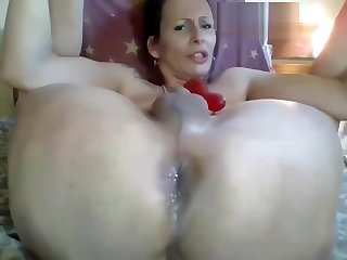 sexy shemale milf with nice ass jerking her cock and ass fucking