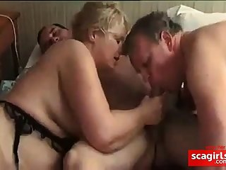 French bi mature couple share a cock