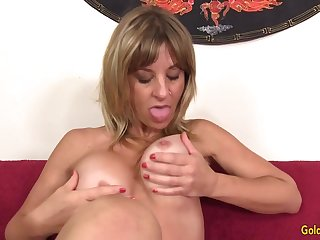 Older Blonde Floozy Sky Haven Gratifies Both Her Holes with Sex Toys