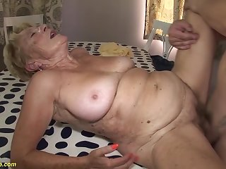 horny 8 old hairy bush grandma gets extreme rough and deep fucked in her old cunt
