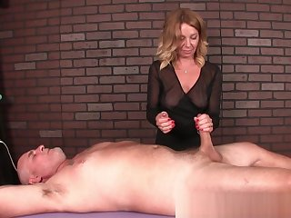 Kinky mature masseuse ruins clients orgasm