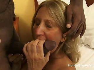 Old busty blonde slut ass fucked by a big black cock