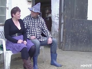 German Redhead Granny enjoys a Countryside Pounding